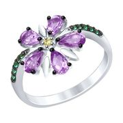 Кольцо из серебра с аметистами - SOKOLOV