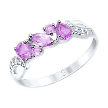 Серебряное кольцо с аметистами и фианитами арт. 92011593