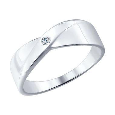 Серебряное кольцо с бриллиантом арт. 87010004