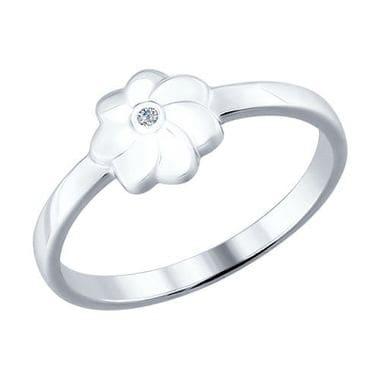 Серебряное кольцо с бриллиантом арт. 87010008