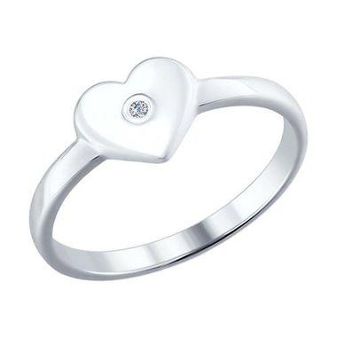 Помолвочное кольцо из серебра с бриллиантом арт. 87010009