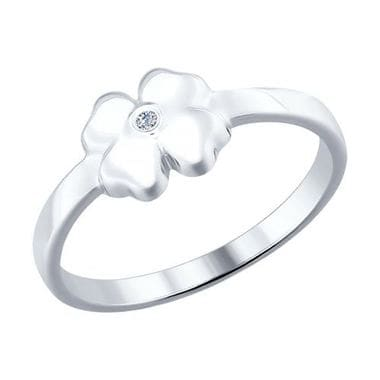 Серебряное кольцо с бриллиантом арт. 87010010