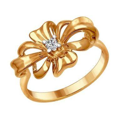 Кольцо из золочёного серебра с фианитом арт. 93010676