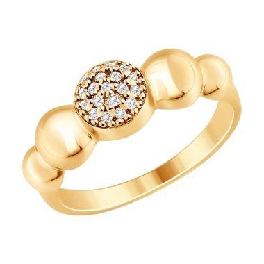 Кольцо из золочёного серебра с фианитом арт. 93010718