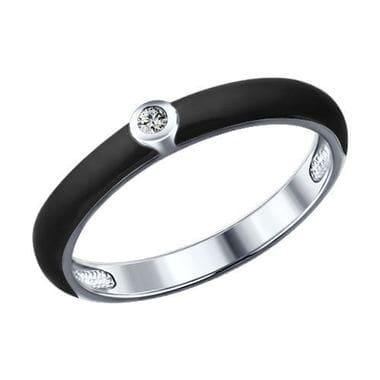 Кольцо с фианитом и эмалью 94011142