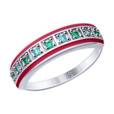 Кольцо из серебра с эмалью и фианитами арт. 94012619