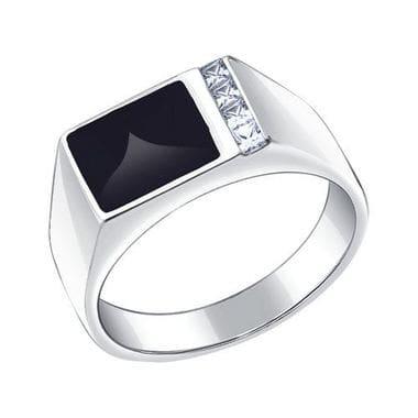 Серебряная печатка с эмалью и фианитами арт. 94010434