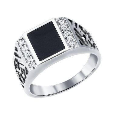 Серебряная печатка с эмалью и фианитами арт. 94010713