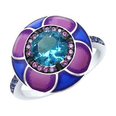 Кольцо из серебра с эмалью, синим ситаллом, синими и сиреневыми фианитами арт. 92011696