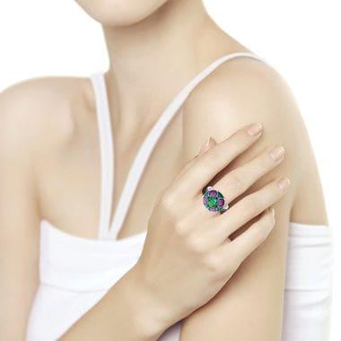 Серебряное кольцо SOKOLOV с ситаллом и фианитами арт. 92011698