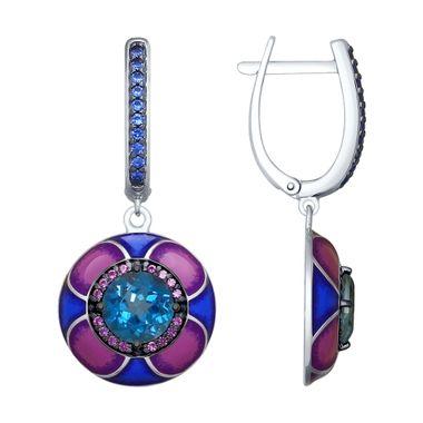 Серьги из серебра с эмалью и синими ситаллами и фианитами арт. 92021838