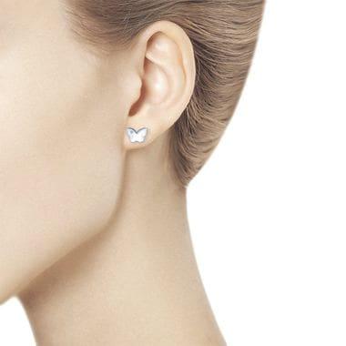 Серебряные пусеты с бриллиантами арт. 87020001