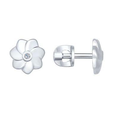 Серебряные пусеты с бриллиантами арт. 87020005