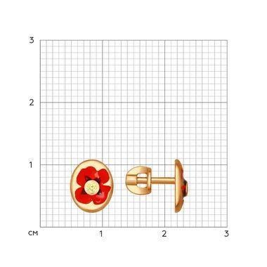 Серьги-пусеты из золочёного серебра с эмалью и фианитами «Маки» арт. 93020671