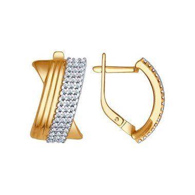 Серьги из золочёного серебра с фианитами арт. 93020707
