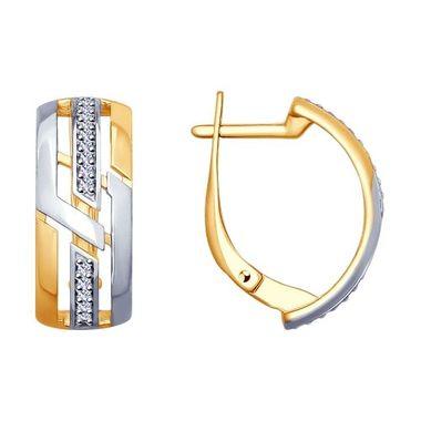 Серьги из золочёного серебра с фианитами арт. 93020870