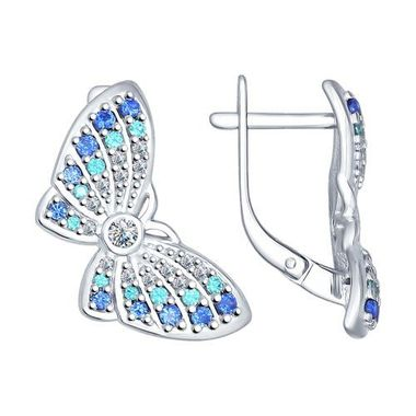 Серьги из серебра «Бабочка» с фианитами арт. 94022210