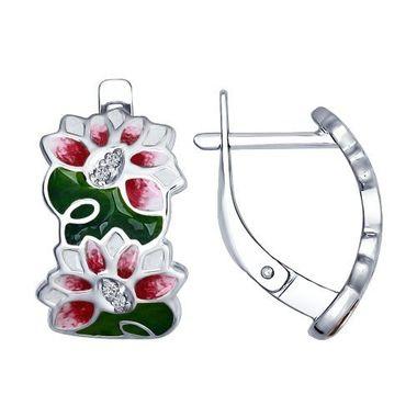 Серьги «Цветы» из серебра с эмалью и фианитами арт. 94022509