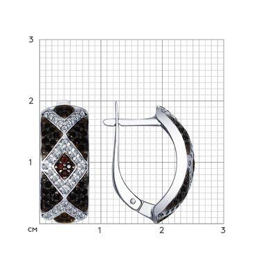 Серьги из серебра с бесцветными, коричневыми и чёрными фианитами арт. 94022549