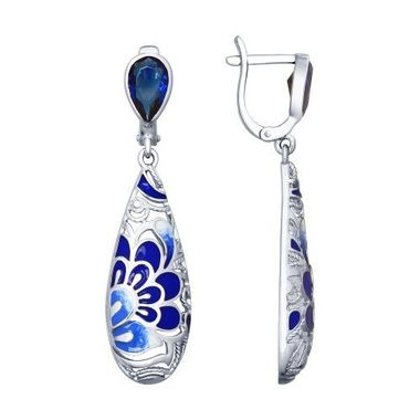 Серьги из серебра с эмалью и синими фианитами арт. 94022591