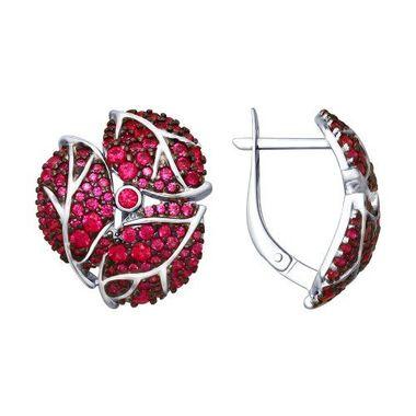 Серьги из серебра «Листья» с красными фианитами арт. 94022620