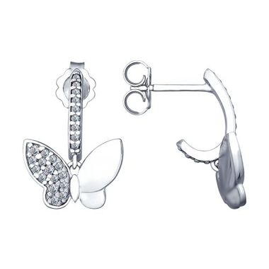 Серьги в виде бабочки из серебра с фианитами арт. 94022659