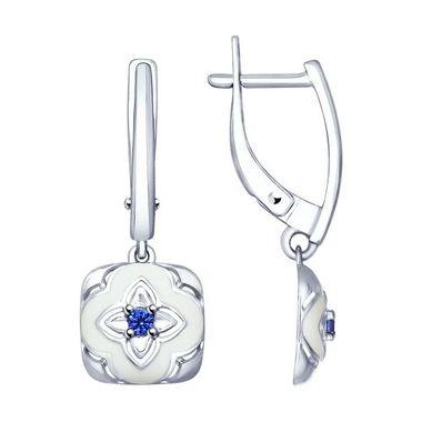 Серьги из серебра с эмалью и фианитами арт. 94022792