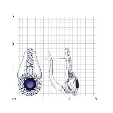 Серьги из серебра с корундами сапфировыми (синт.) и фианитами арт. 88020032