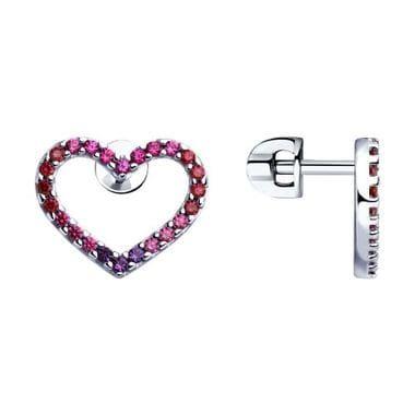 Серьги Сердце из серебра с корундами арт. 94023364