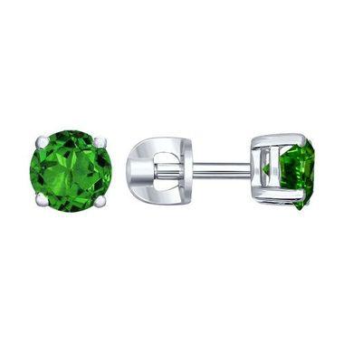 Серебряные пусеты с зелёным фианитом арт. 94020531