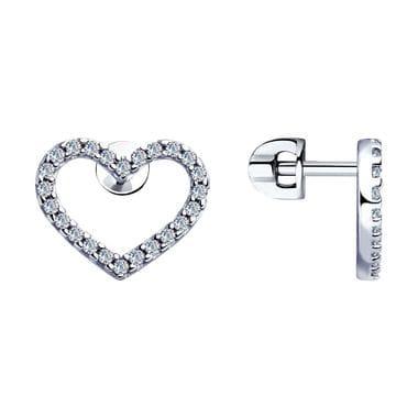 Серьги Сердце из серебра с фианитами арт. 94023363