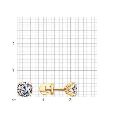 Золоченые пусеты Swarovski Zirconia 89020067
