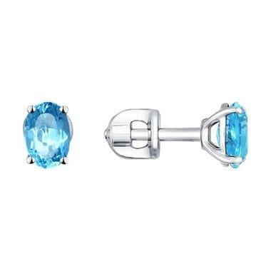 Серьги-пусеты из серебра с голубыми топазами арт. 92021090