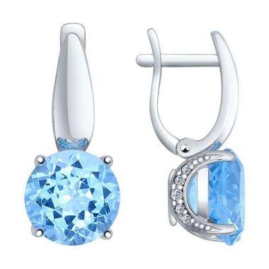 Серьги из серебра с голубыми топазами и фианитами арт. 92021264