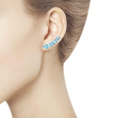 Серьги-зажимы из серебра с голубыми топазами арт. 92021348