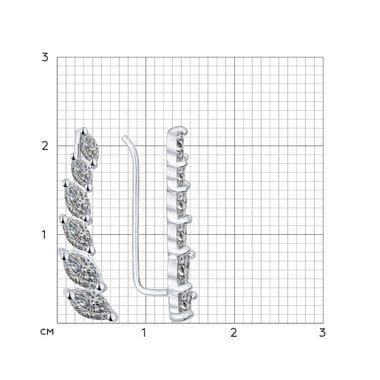 Серьги-зажимы из серебра с фианитами арт. 94021890