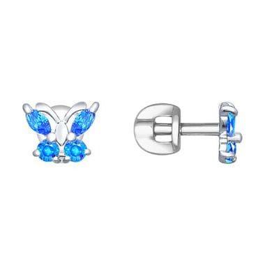 Пусеты из серебра «Бабочка» с голубыми фианитами арт. 94020536