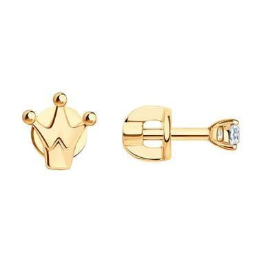 Асимметричные пусеты из золота с фианитом арт. 027271