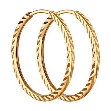 Серьги конго из золота с алмазной гранью арт. 140011
